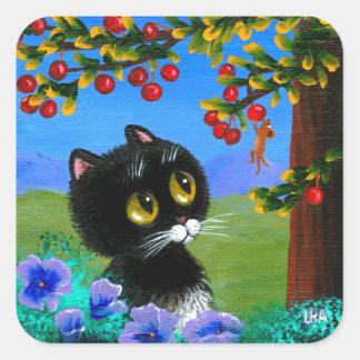 Funny Tuxedo Cat Mouse Creationarts Square Sticker
