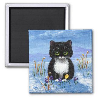 Funny Tuxedo Cat Winter Snow Creationarts Magnet