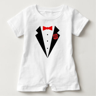 Funny Tuxedo [red bow] Baby Romper