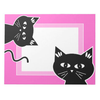 Funny Two Black Cats Hot Pink Notepad