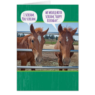 Funny Two Horse Who Are Too Hoarse Birthday Card