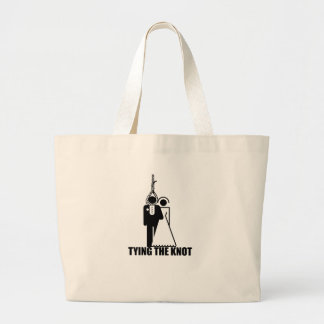 Funny Tying the knot wedding design Bags