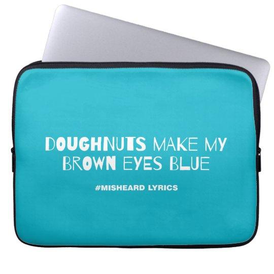 Funny typographic misheard song lyrics laptop sleeve