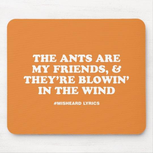 Funny typographic misheard song lyrics mouse pad