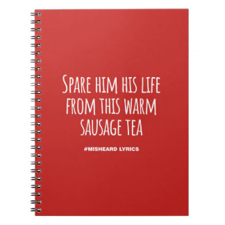 Funny typographic misheard song lyrics notebook