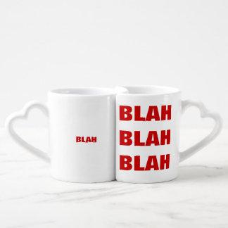 funny typography blah coffee mug set