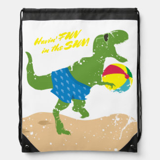 Funny tyrannosaurus rex dinosaur summer beach ball drawstring bag