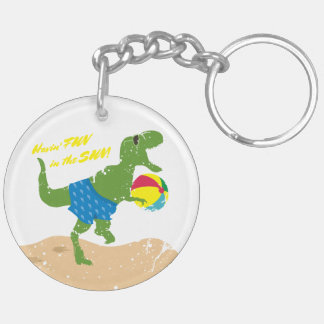 Funny tyrannosaurus rex dinosaur summer beach ball keychain