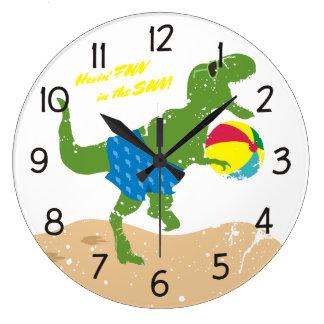 Funny tyrannosaurus rex dinosaur summer beach ball large clock