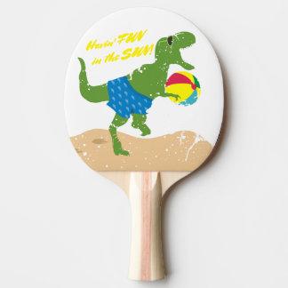 Funny tyrannosaurus rex dinosaur summer beach ball ping pong paddle