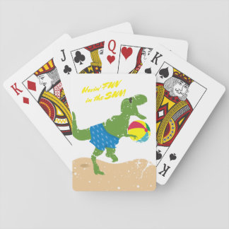 Funny tyrannosaurus rex dinosaur summer beach ball playing cards