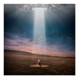 Funny UFO Abduction Tricycle Poster