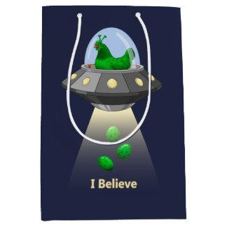 Funny UFO Green Chicken Egg Alien Abduction Medium Gift Bag
