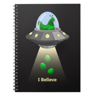 Funny UFO Green Chicken Egg Alien Abduction Spiral Notebook