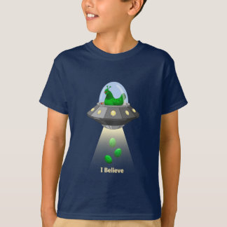 Funny UFO Green Chicken Egg Alien Abduction T-Shirt