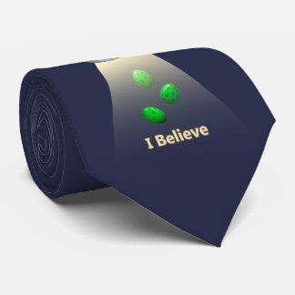 Funny UFO Green Chicken Egg Alien Abduction Tie