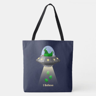 Funny UFO Green Chicken Egg Alien Abduction Tote Bag