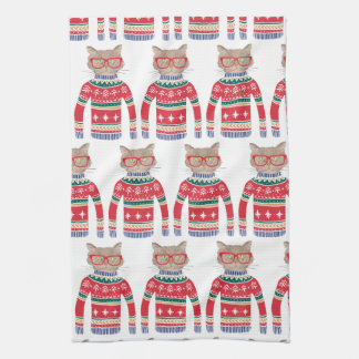 Funny Ugly Christmas Sweater, Cut Cat Lover Kitchen Towel