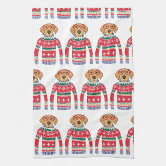 Funny Ugly Christmas Sweater, Dog Wearing Glasses Kitchen Towel