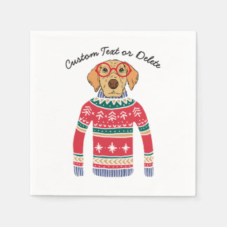 Funny Ugly Christmas Sweater, Dog Wearing Glasses Napkin