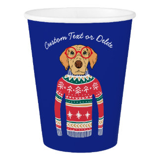 Funny Ugly Christmas Sweater, Dog Wearing Glasses Paper Cup