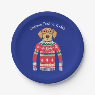 Funny Ugly Christmas Sweater, Dog Wearing Glasses Paper Plate