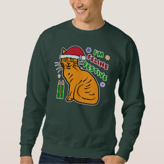 Funny Ugly Christmas Sweater Festive Cat Pun