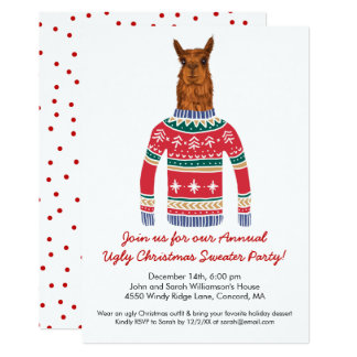 Funny Ugly Christmas Sweater Party with Cute Llama Card