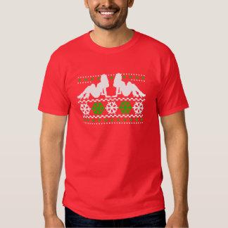 Funny! Ugly Christmas Sweater with Chicks Tee Shirt