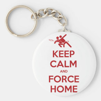 Funny Ultimate Frisbee- Keep Calm and Force Home Keychain