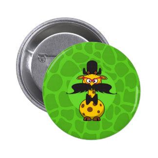 Funny Undercover Giraffe in Mustache Disguise Pinback Button