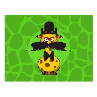 Funny Undercover Giraffe in Mustache Disguise Postcard
