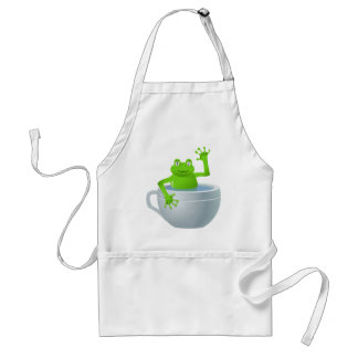 Funny Unexpected Frog in My Tea Cup Standard Apron