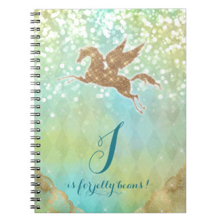 Funny Unicorn Glitter Gold Lights Blue Letter J Notebook
