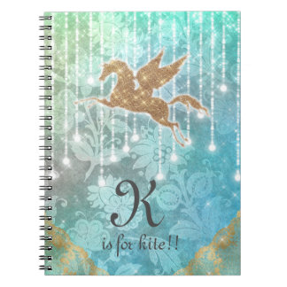Funny Unicorn Glitter Gold Lights Blue Letter K Spiral Notebook