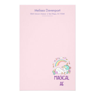Funny Unicorn Magical AF with Girly Decorations Stationery