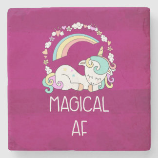Funny Unicorn Magical AF with Girly Decorations Stone Coaster