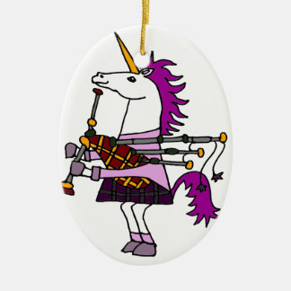 Funny Unicorn Playing Bagpipes Art Ceramic Oval Ornament