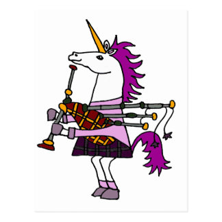 Funny Unicorn Playing Bagpipes Art Postcard