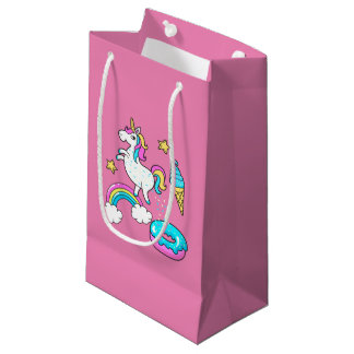 Funny unicorn pooping rainbow sprinkles on donut small gift bag