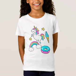 Funny unicorn pooping rainbow sprinkles on donut T-Shirt