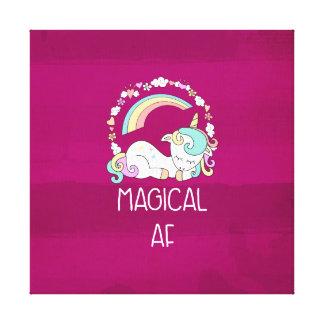 Funny Unicorn Saying Magical AF Canvas Print