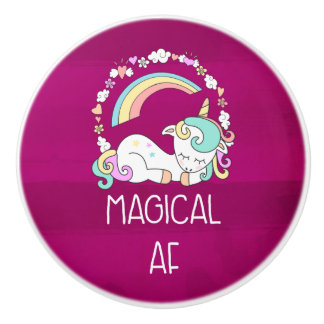Funny Unicorn Saying Magical AF Ceramic Knob