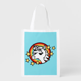 FUNNY UNICORN WITH RAINBOW REUSABLE SHOPPING BAG