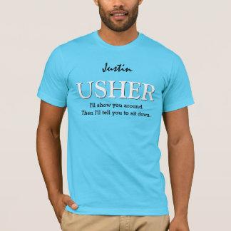 Funny Usher Customizable Wedding Party V011 AQUA T-Shirt
