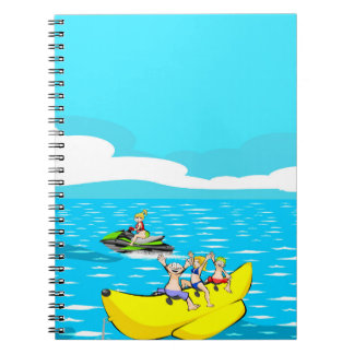Funny vacations in a boat banana notebook