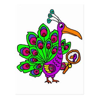 Funny Vain Peacock Bird cartoon Postcard