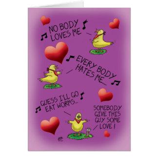 Funny Valentine Cards: Bird-Worm Valentine Card