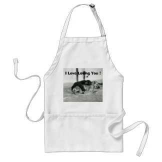 Funny Valentines Day Monkey and Tiger Standard Apron