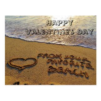Funny Valentine's Day Pun Beach Heart Postcard